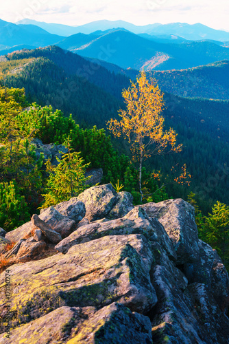 Naklejka View of the stony hills