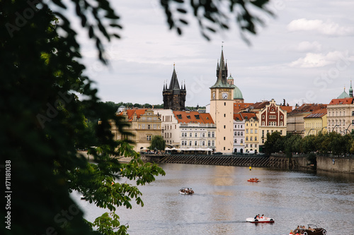 Foto op Plexiglas Praag Vltava river in Prague, Czech Republic at the daytime