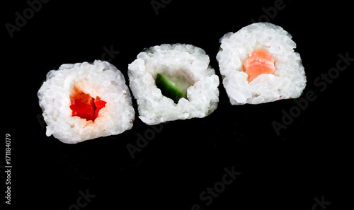 Fotobehang Sushi bar Verschiedene Sushi Stücke