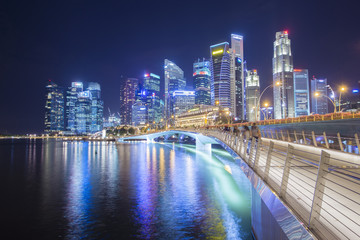 Singapore business district at night.