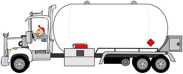 Illustration of a man driving a propane tanker truck.