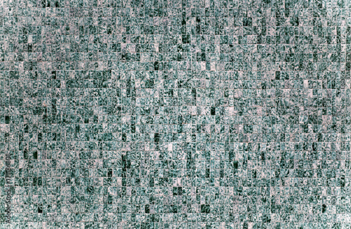 Fotobehang Stenen Texture Stone Wall Background Ground Flat pattern mosaic tile raster square quad Rough Dirty Grunge Dark Spot Green Pastel Jade Lines Stroke Close Up Art Handmade DIY Bath Spa Fashion Ad mediterranean