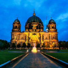 Berlin, Germany. View of Evangelical Cathedral at night