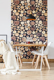 Soft textiles and log wallpaper - 171189014