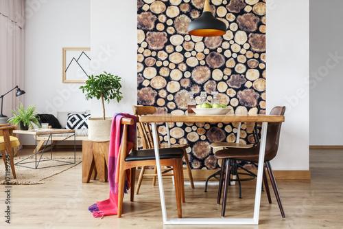 Wood log texture wallpaper Poster