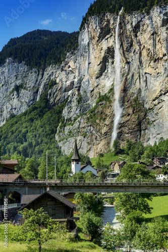 Staubbach waterfall in Lauterbrunnen Switzerland