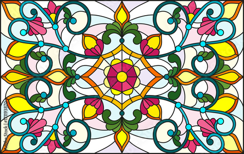 illustration-in-stained-glass-style-with-abstract-swirls-flowers-and-leaves-on-a-light-background-horizontal-orientation