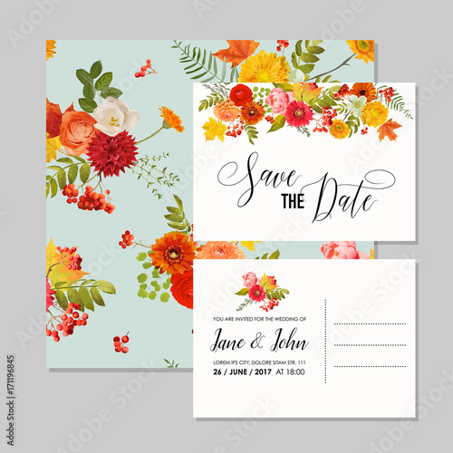 Floral Wedding Invitation Card Template Set with Autumn Flowers, Leaves and Rowanberry. Baby Shower Decoration in vector