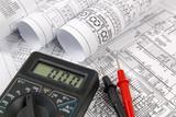 electrical engineering drawings and digital multimeter - 171197462