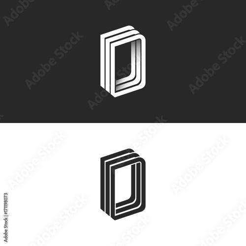 Letter D logo perspective modern typography design element, monogram isometric shape DDD emblem 3D overlapping parallel thin lines geometric form