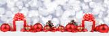Weihnachten Geschenke Weihnachtsgeschenke Banner Dekoration Hintergrund Sterne Textfreiraum