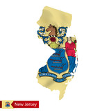 New Jersey state map with waving flag of US State. - 171199486