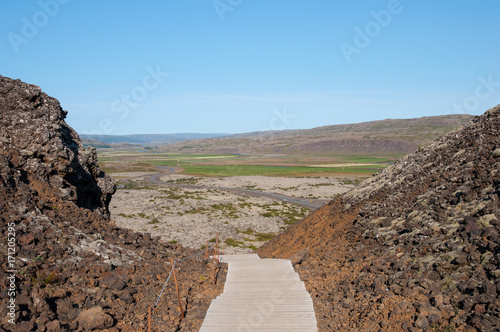 Foto op Plexiglas Cappuccino Stair towards the crater of Grabrok mountain in west Iceland