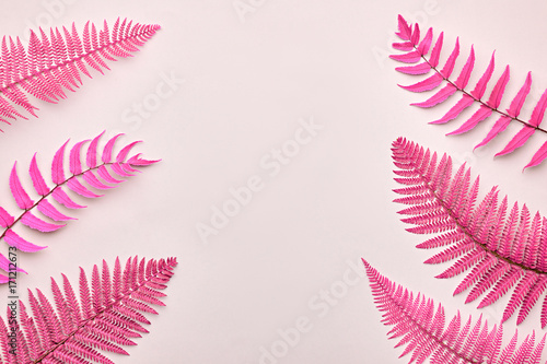 Floral Leaves Fashion Concept. Fern Tropical Leaf. Vivid Design. Art Gallery. Creative Bright Color Background. Minimal Style. Pink Summer fashion