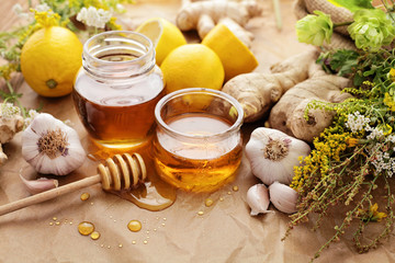 Honey, garlic, lemon, herbs and ginger