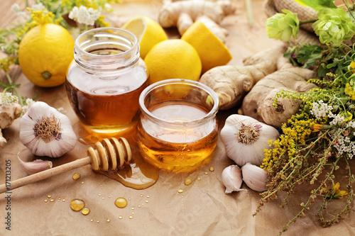 Honey, garlic, lemon, herbs and ginger