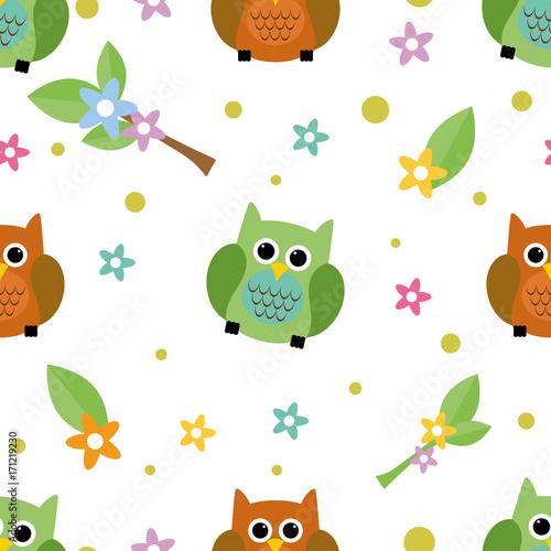 Fotobehang Uilen cartoon Seamless tiling cute owl and flower texture