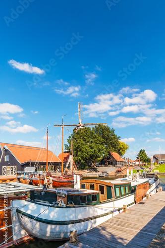 Fotobehang Schip View at the harbor of the Dutch city of Harderwijk