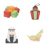 Eastern sweets, Ramadan lamp, Arab sheikh, territory.Arab emirates set collection icons in cartoon style vector symbol stock illustration web.
