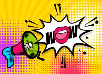 WOW pop art megaphone pink woman sexy lips, star. Comics book balloon. Bubble speech phrase. Cartoon girl lipstick font label tag expression. Comic text sound effects. Vector illustration.