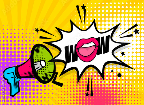 WOW pop art megaphone pink woman sexy lips, star. Comics book balloon. Bubble speech phrase. Cartoon girl lipstick font label tag expression. Comic text sound effects. Vector illustration.