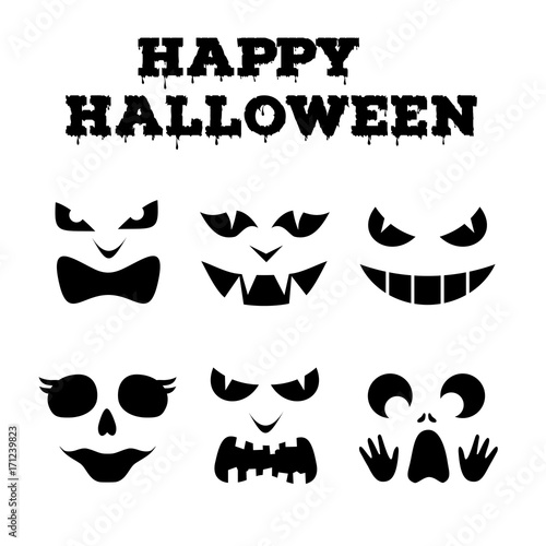Collection Of Halloween Pumpkins Carved Faces Silhouettes Black And