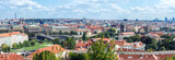 Beautiful panoramic photo of Prague from the height of the hill in solar weather