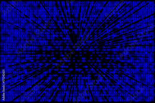 Foto op Plexiglas Abstract wave Binary code background in blue and black