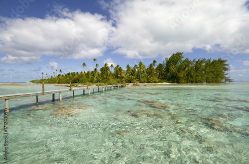 Spoed canvasdoek 2cm dik Olijf Südsee atoll mit Traumstrand palmen und türkis grünem Wasser tauch und Segelparadie