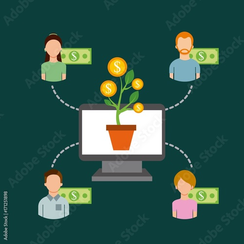 Wall mural computer plant money community people funding collaboration vector illustration