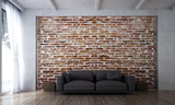 The interior design of lounge sofa and living room sofa and red brick wall texture