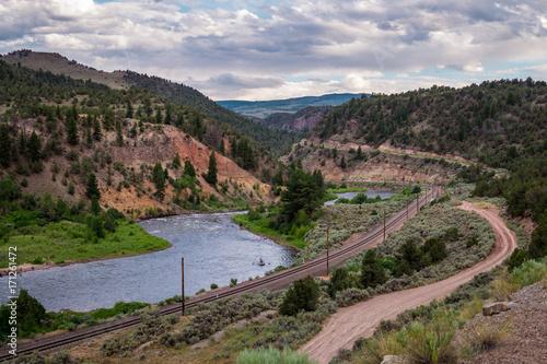 Foto op Aluminium Bergen Colorado River Valley and the old railway