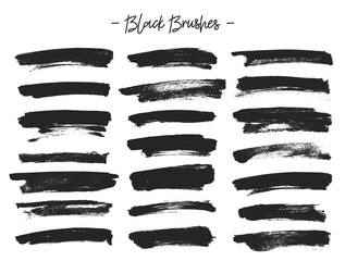 Vector brushes. Set of black ink