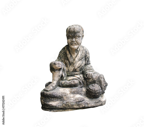Foto op Canvas Boeddha Old man doll Made of stone Isolated on white background
