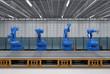 robot arms with conveyor line