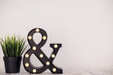 ampersand & sign with bulbs on a white background - 171266481