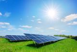 Solar panel on blue sky background - 171276413