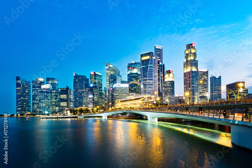 Singapore business district skyline in the evening. Poster
