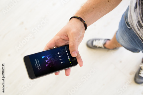 male hands music smartphone