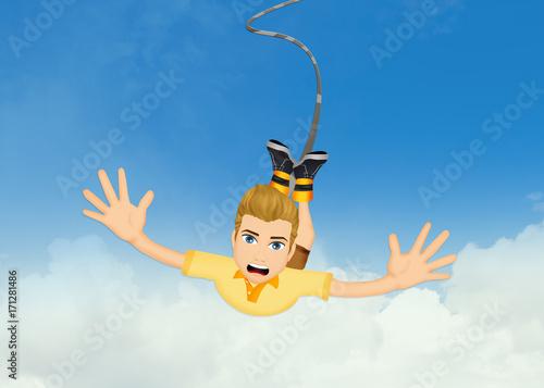man doing a bungee jumping