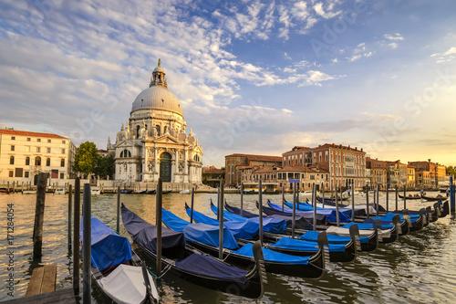 Venice Grand Canal and Gondola Boat when sunset, Venice (Venezia), Italy - 171284054