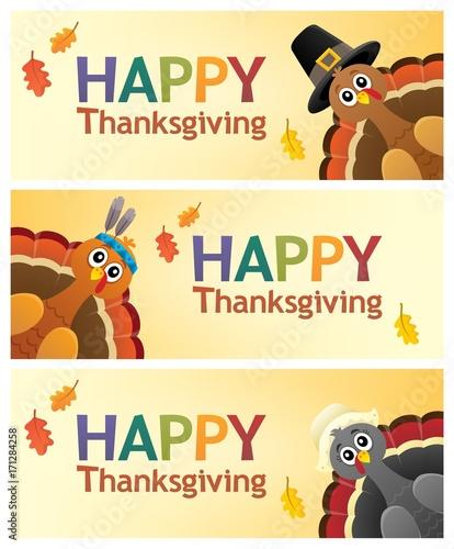 Fotobehang Voor kinderen Happy Thanksgiving banners 1