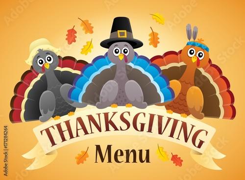 Fotobehang Voor kinderen Thanksgiving menu theme image 4