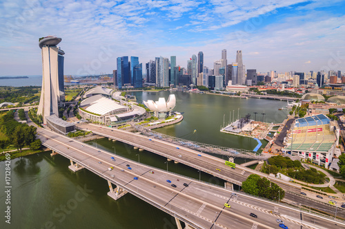 Singapore high angle view city skyline at Business District, Marina Bay, Singapo Poster