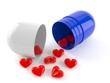 Open pill with hearts
