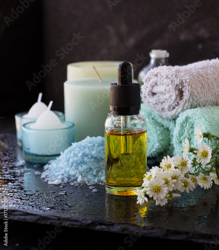 Fotobehang Spa Spa set with candles, selective focus, space for text