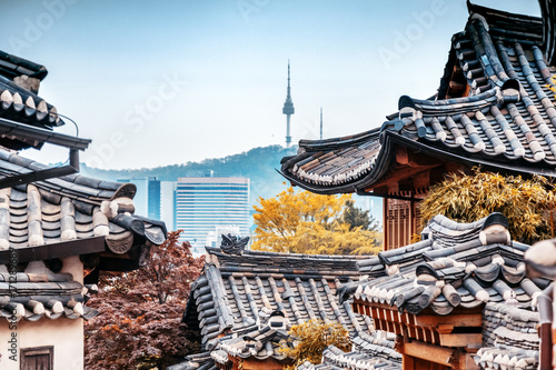 Beautiful Seoul tower in autumn, Namsan Mountain, South Korea Poster