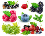 Set fresh berries healthy food fruit with green leaf, isolated
