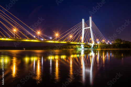 Fotobehang Bruggen Siekierkowski bridge at night in Warsaw, Poland