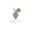 Vector set of packaging design element and icon in linear style - grape seed oil
